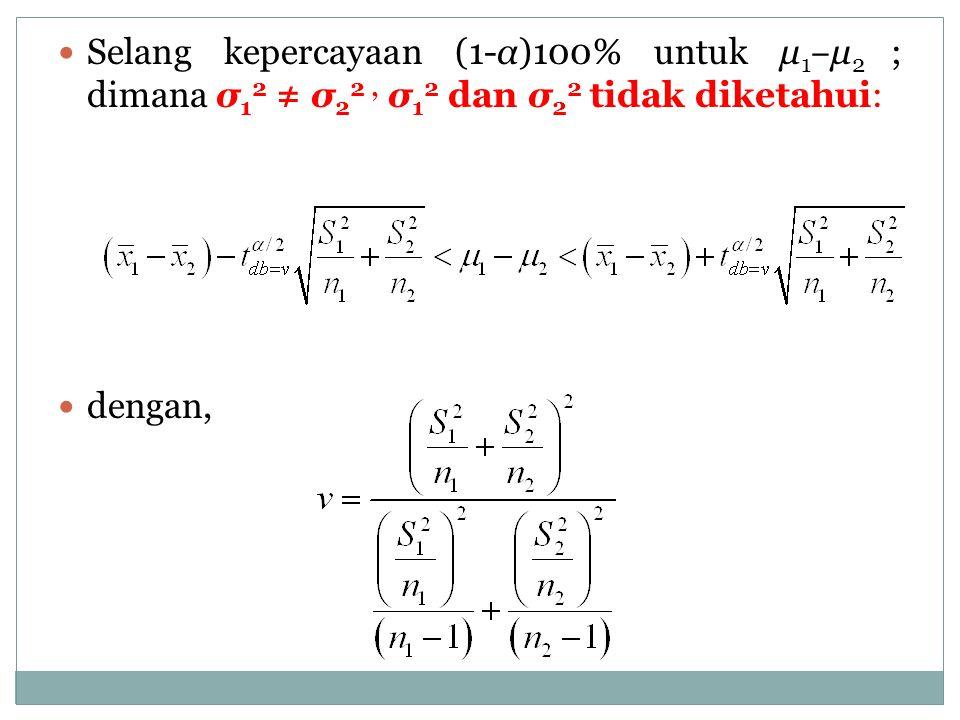 Selang kepercayaan (1-α)100% untuk μ 1 ‒ μ 2 ; dimana σ 1 2 ≠ σ 2 2, σ 1 2 dan σ 2 2 tidak diketahui: dengan,