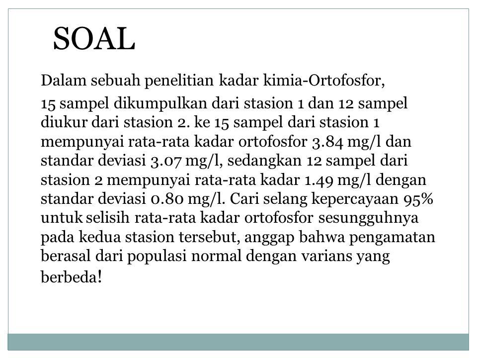Dalam sebuah penelitian kadar kimia-Ortofosfor, 15 sampel dikumpulkan dari stasion 1 dan 12 sampel diukur dari stasion 2.