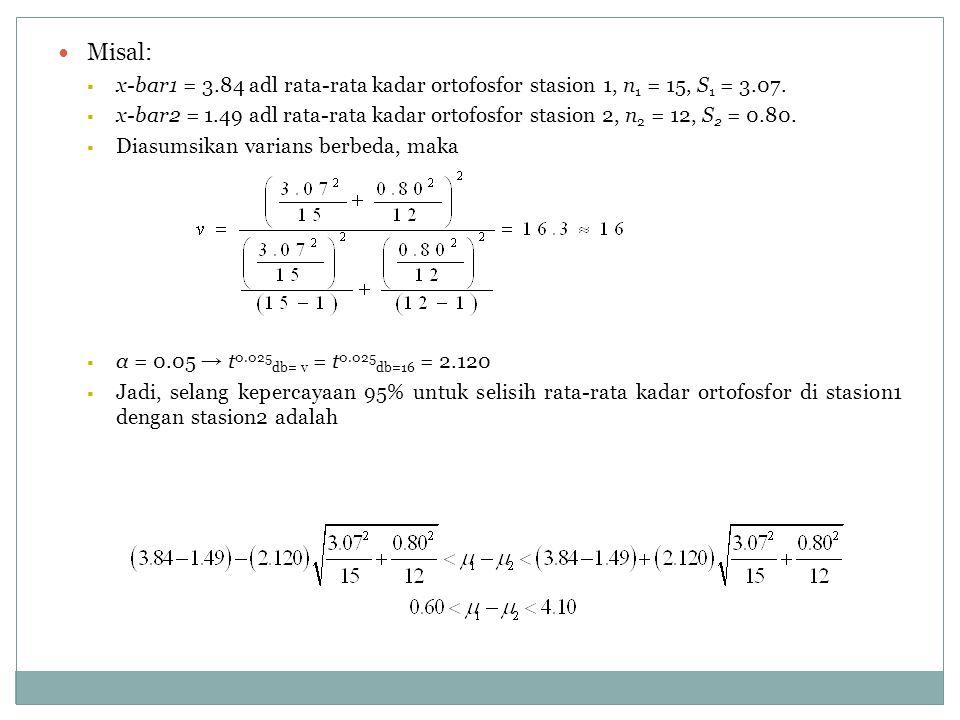 Misal:  x-bar1 = 3.84 adl rata-rata kadar ortofosfor stasion 1, n 1 = 15, S 1 = 3.07.  x-bar2 = 1.49 adl rata-rata kadar ortofosfor stasion 2, n 2 =