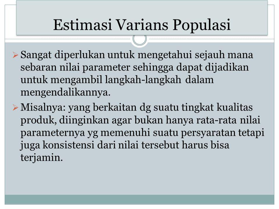 Estimasi Varians Populasi  Sangat diperlukan untuk mengetahui sejauh mana sebaran nilai parameter sehingga dapat dijadikan untuk mengambil langkah-la