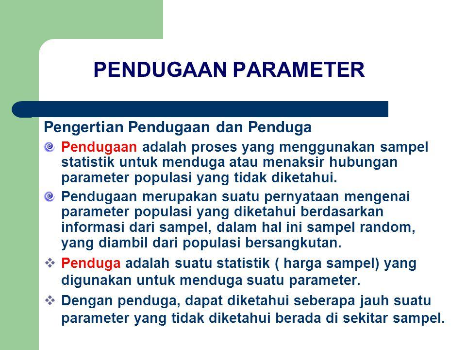 PENDUGAAN PARAMETER Pengertian Pendugaan dan Penduga Pendugaan adalah proses yang menggunakan sampel statistik untuk menduga atau menaksir hubungan parameter populasi yang tidak diketahui.