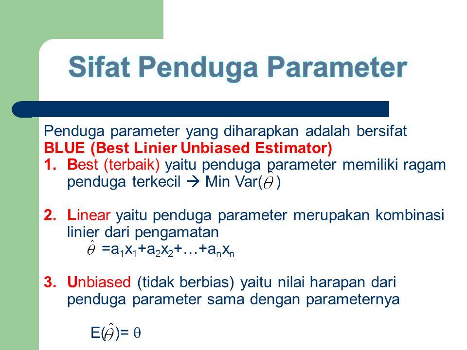 Penduga parameter yang diharapkan adalah bersifat BLUE (Best Linier Unbiased Estimator) 1.Best (terbaik) yaitu penduga parameter memiliki ragam penduga terkecil  Min Var( ) 2.Linear yaitu penduga parameter merupakan kombinasi linier dari pengamatan =a 1 x 1 +a 2 x 2 +…+a n x n 3.Unbiased (tidak berbias) yaitu nilai harapan dari penduga parameter sama dengan parameternya E( )= 
