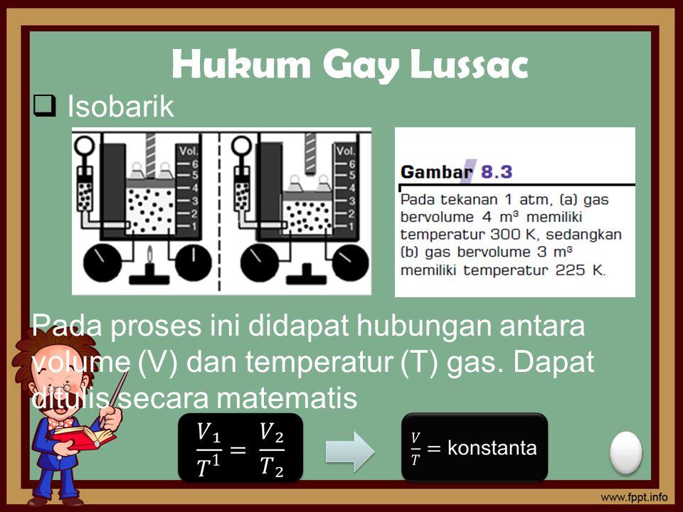 Hukum Gay Lussac  Isobarik Pada proses ini didapat hubungan antara volume (V) dan temperatur (T) gas. Dapat ditulis secara matematis