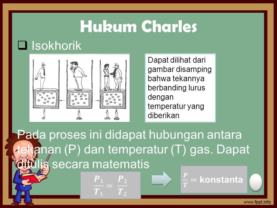 Hukum Charles  Isokhorik Pada proses ini didapat hubungan antara tekanan (P) dan temperatur (T) gas. Dapat ditulis secara matematis Dapat dilihat dar