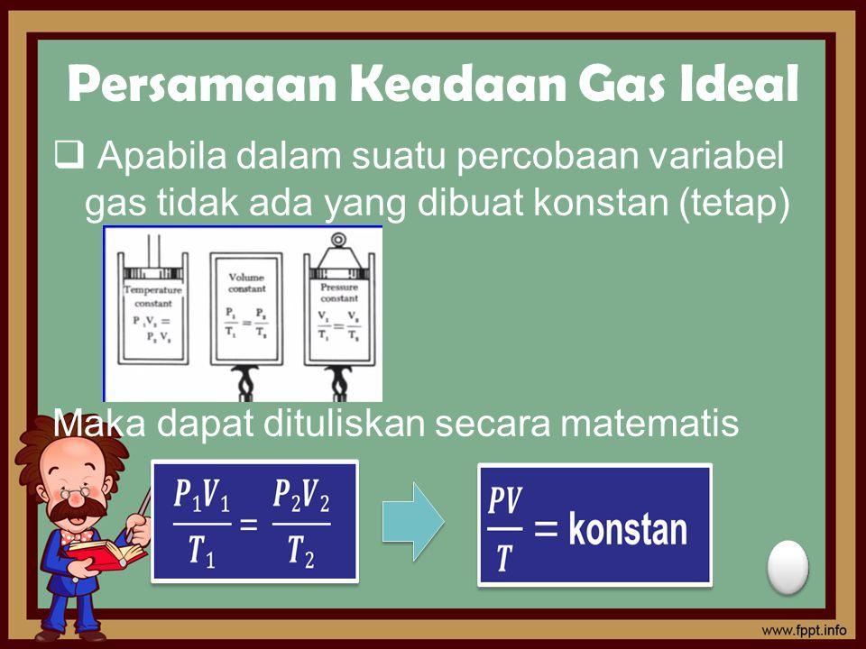 Persamaan Keadaan Gas Ideal  Apabila dalam suatu percobaan variabel gas tidak ada yang dibuat konstan (tetap) Maka dapat dituliskan secara matematis