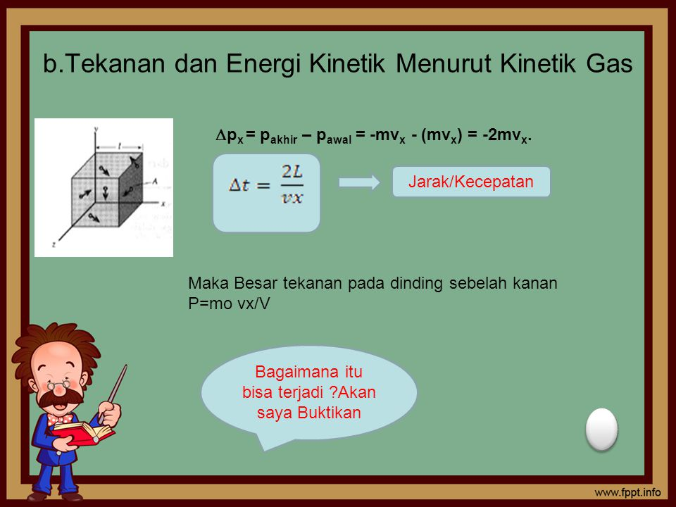 b.Tekanan dan Energi Kinetik Menurut Kinetik Gas  p x = p akhir – p awal = -mv x - (mv x ) = -2mv x. Jarak/Kecepatan Maka Besar tekanan pada dinding