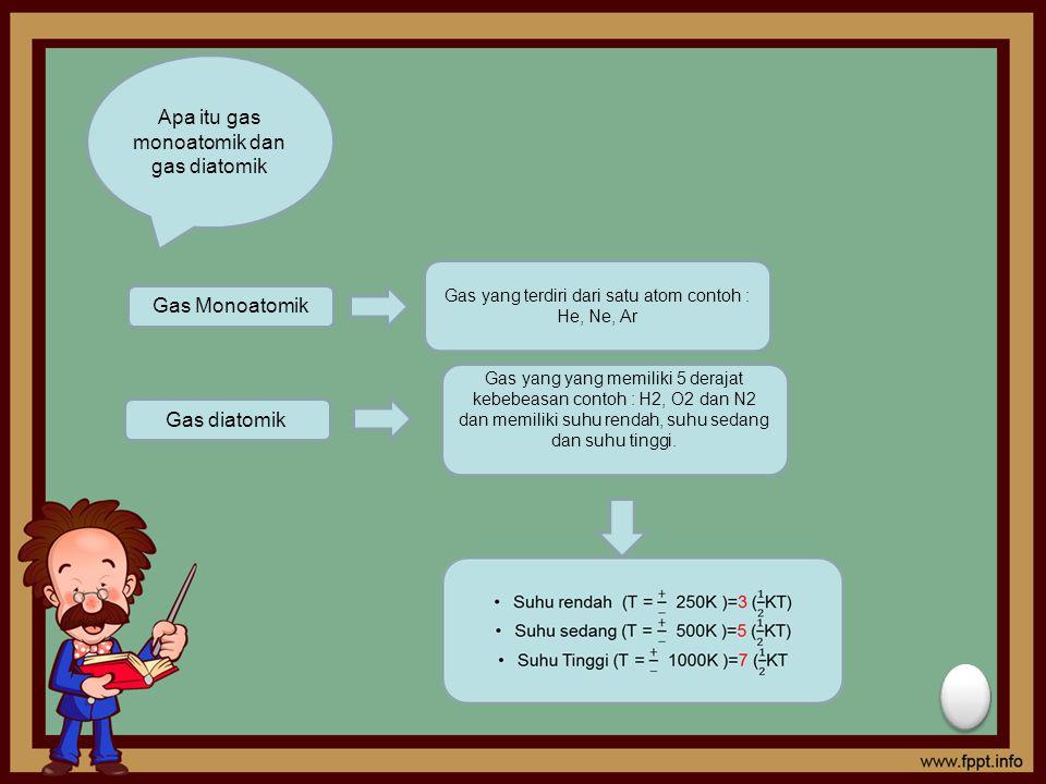 Apa itu gas monoatomik dan gas diatomik Gas Monoatomik Gas yang terdiri dari satu atom contoh : He, Ne, Ar Gas diatomik Gas yang yang memiliki 5 deraj