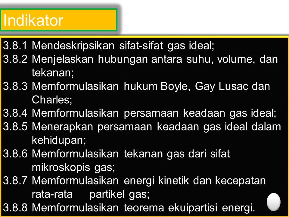 Indikator 3.8.1 Mendeskripsikan sifat-sifat gas ideal; 3.8.2 Menjelaskan hubungan antara suhu, volume, dan tekanan; 3.8.3Memformulasikan hukum Boyle,