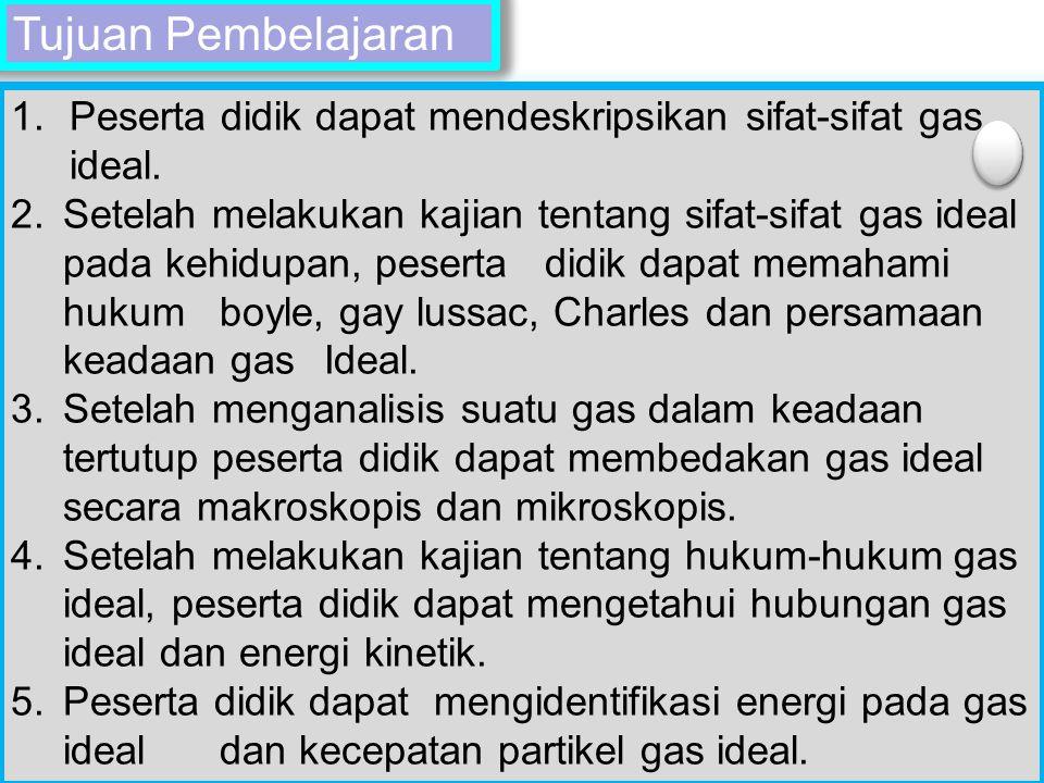 Title Text Tujuan Pembelajaran 1.Peserta didik dapat mendeskripsikan sifat-sifat gas ideal. 2.Setelah melakukan kajian tentang sifat-sifat gas ideal p