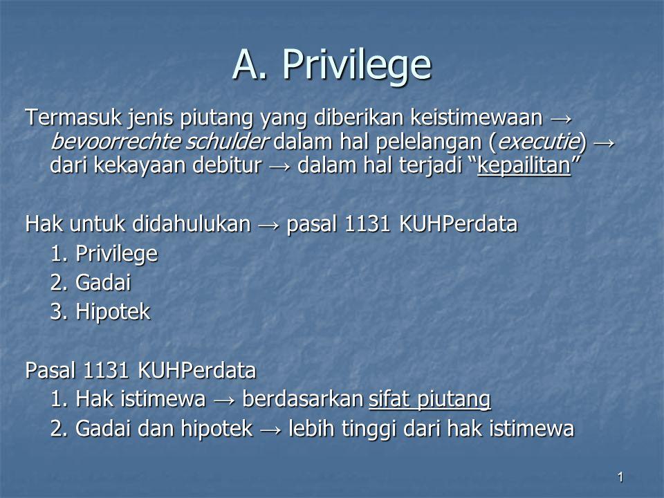 1 A. Privilege Termasuk jenis piutang yang diberikan keistimewaan → bevoorrechte schulder dalam hal pelelangan (executie) → dari kekayaan debitur → da