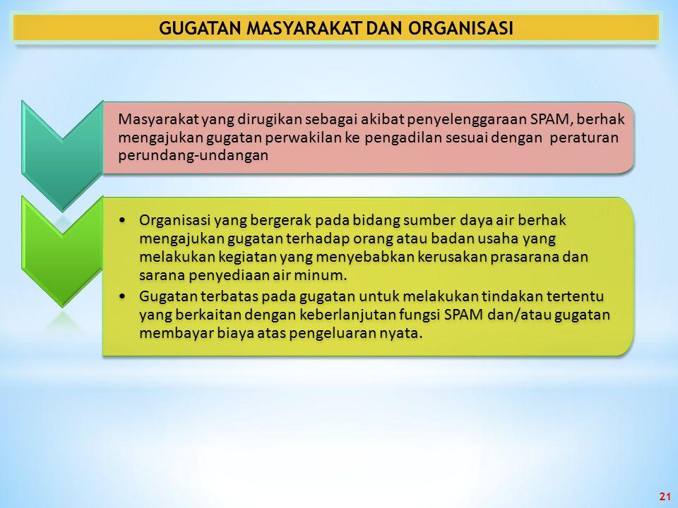 GUGATAN MASYARAKAT DAN ORGANISASI Masyarakat yang dirugikan sebagai akibat penyelenggaraan SPAM, berhak mengajukan gugatan perwakilan ke pengadilan se