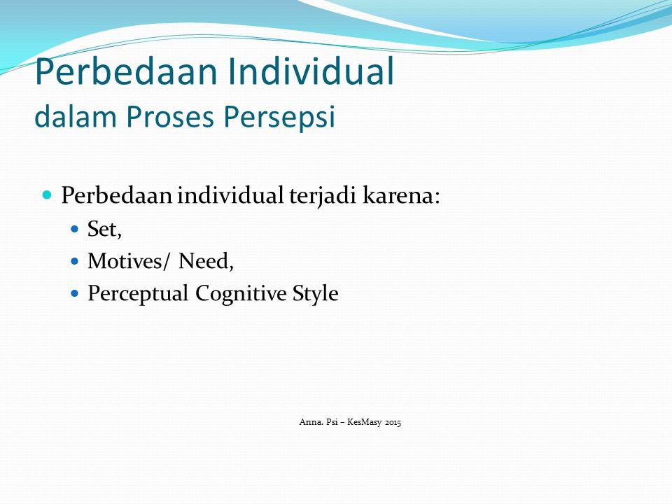 Perbedaan Individual dalam Proses Persepsi Perbedaan individual terjadi karena: Set, Motives/ Need, Perceptual Cognitive Style Anna. Psi – KesMasy 201