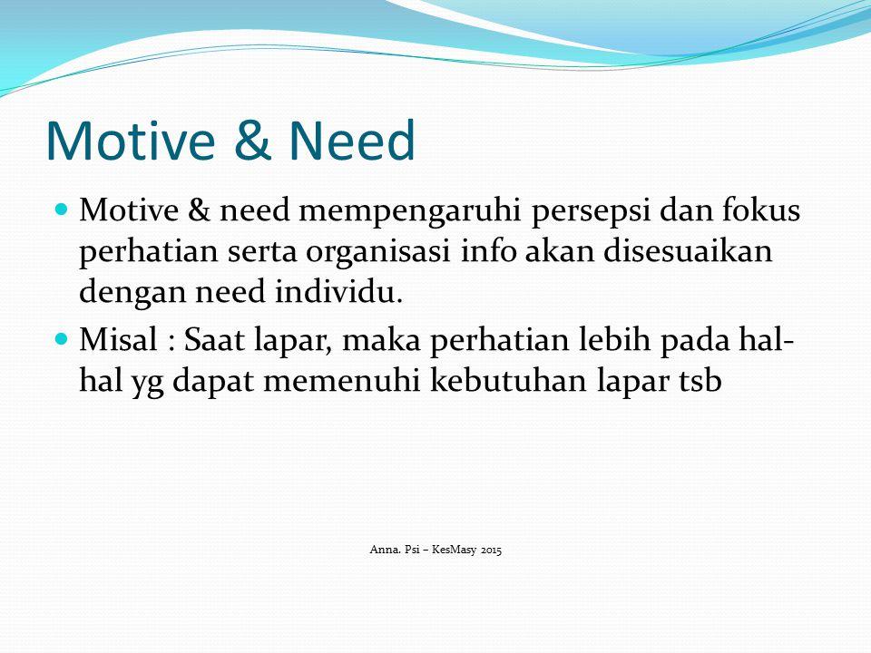 Motive & Need Motive & need mempengaruhi persepsi dan fokus perhatian serta organisasi info akan disesuaikan dengan need individu. Misal : Saat lapar,