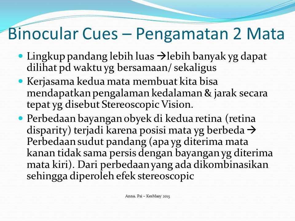 Binocular Cues – Pengamatan 2 Mata Lingkup pandang lebih luas  lebih banyak yg dapat dilihat pd waktu yg bersamaan/ sekaligus Kerjasama kedua mata me