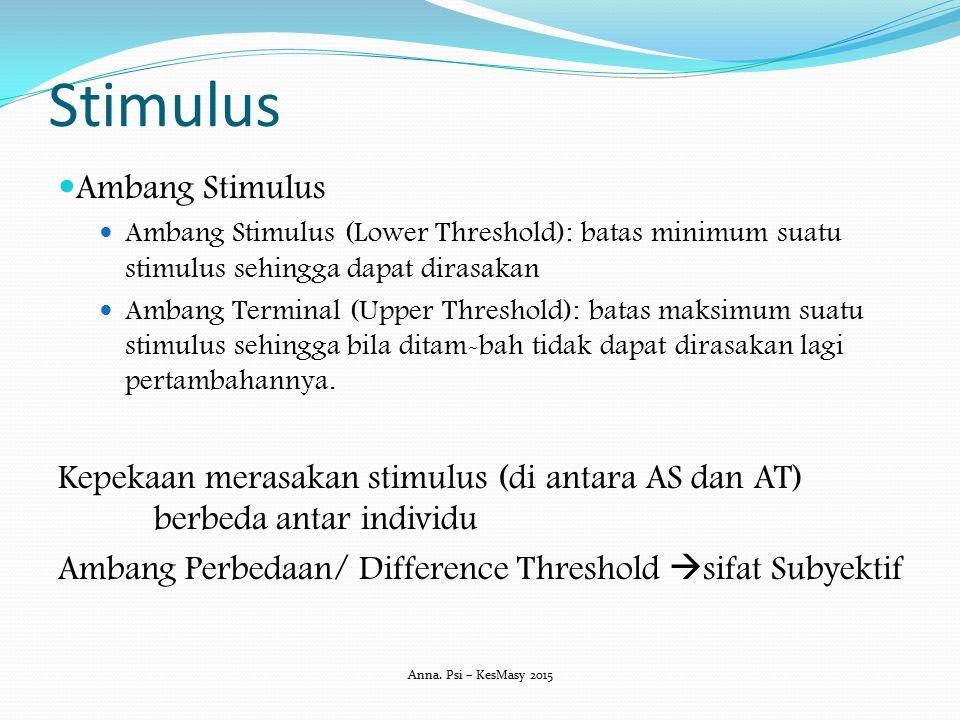 Stimulus Ambang Stimulus Ambang Stimulus (Lower Threshold): batas minimum suatu stimulus sehingga dapat dirasakan Ambang Terminal (Upper Threshold): b
