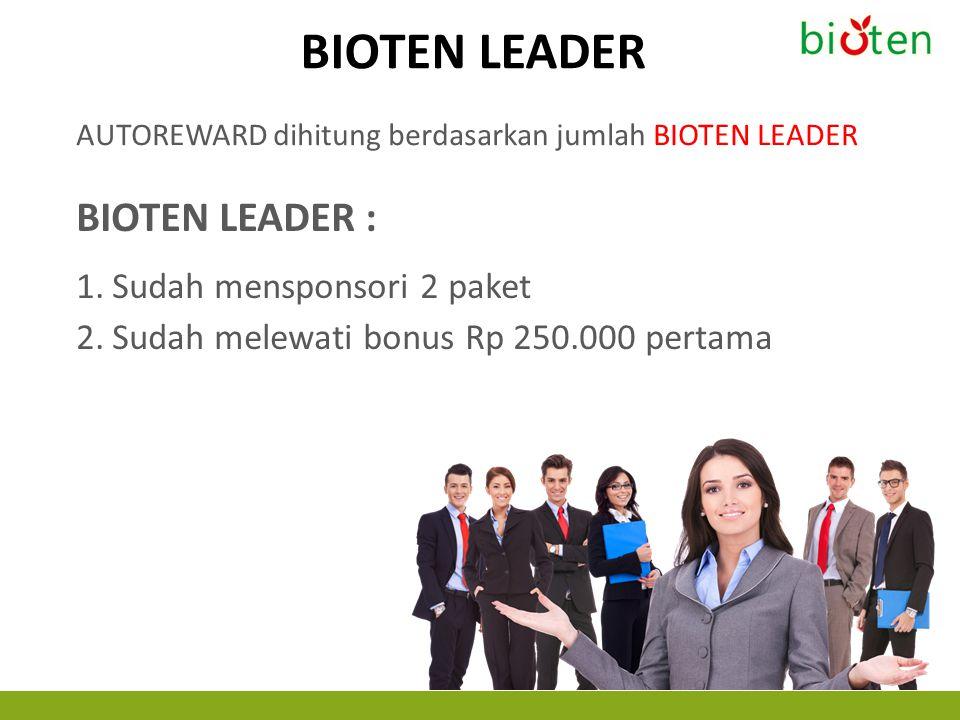 BIOTEN LEADER AUTOREWARD dihitung berdasarkan jumlah BIOTEN LEADER BIOTEN LEADER : 1.Sudah mensponsori 2 paket 2.Sudah melewati bonus Rp 250.000 perta