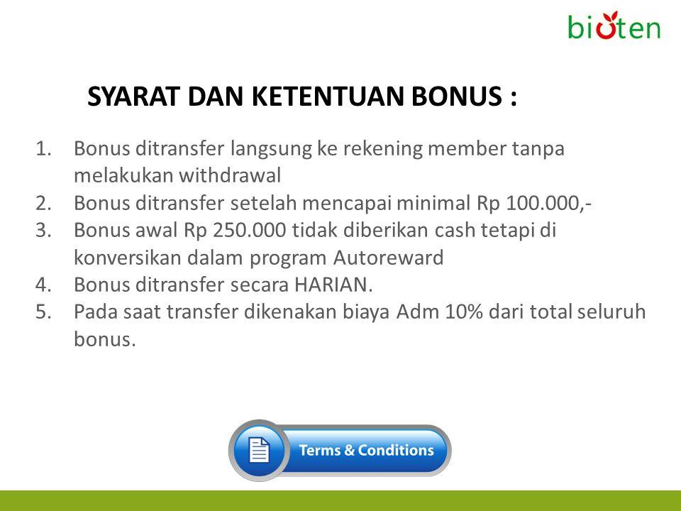 1.Bonus ditransfer langsung ke rekening member tanpa melakukan withdrawal 2.Bonus ditransfer setelah mencapai minimal Rp 100.000,- 3.Bonus awal Rp 250