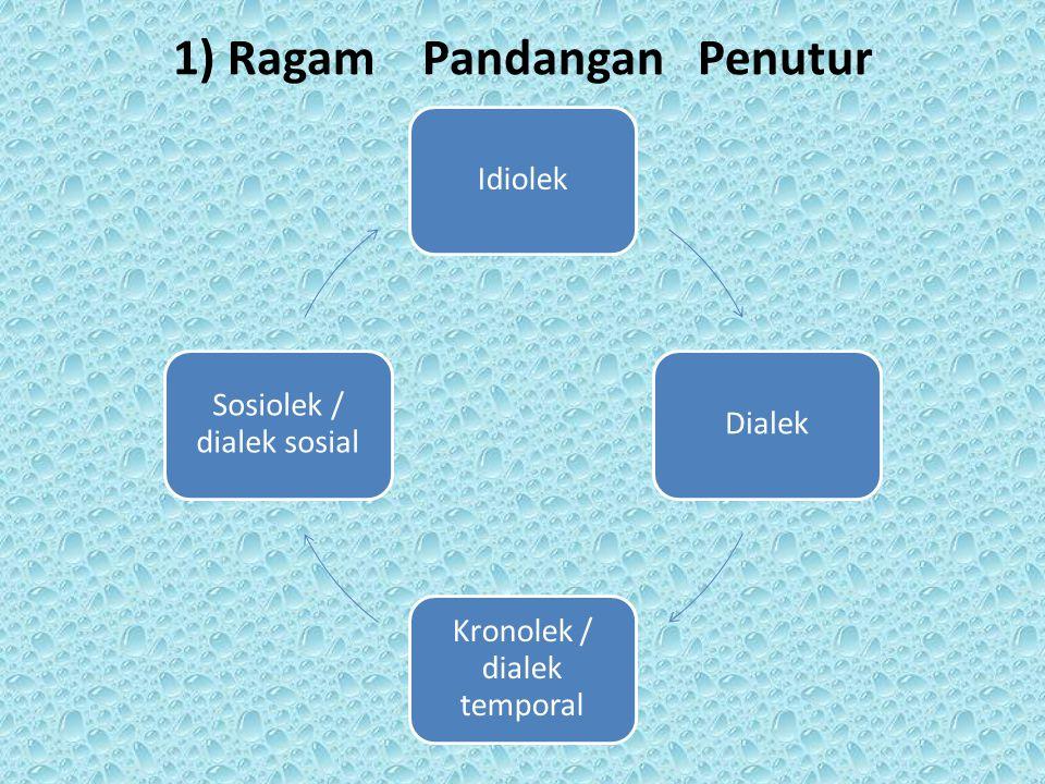 1) Ragam Pandangan Penutur IdiolekDialek Kronolek / dialek temporal Sosiolek / dialek sosial