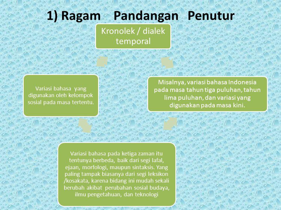 1) Ragam Pandangan Penutur Kronolek / dialek temporal Misalnya, variasi bahasa Indonesia pada masa tahun tiga puluhan, tahun lima puluhan, dan variasi
