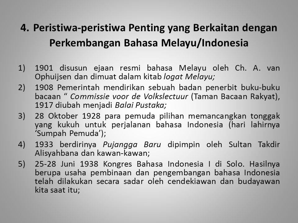 4. Peristiwa-peristiwa Penting yang Berkaitan dengan Perkembangan Bahasa Melayu/Indonesia 1)1901 disusun ejaan resmi bahasa Melayu oleh Ch. A. van Oph