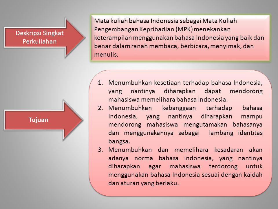 Mata kuliah bahasa Indonesia sebagai Mata Kuliah Pengembangan Kepribadian (MPK) menekankan keterampilan menggunakan bahasa Indonesia yang baik dan ben
