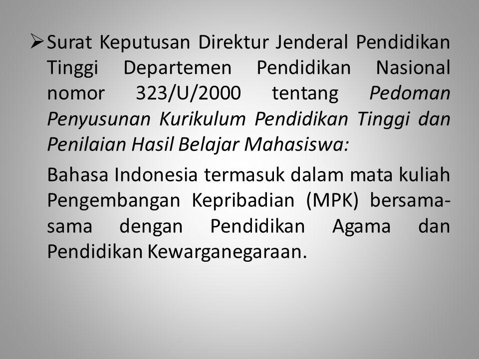  Surat Keputusan Direktur Jenderal Pendidikan Tinggi Departemen Pendidikan Nasional nomor 323/U/2000 tentang Pedoman Penyusunan Kurikulum Pendidikan