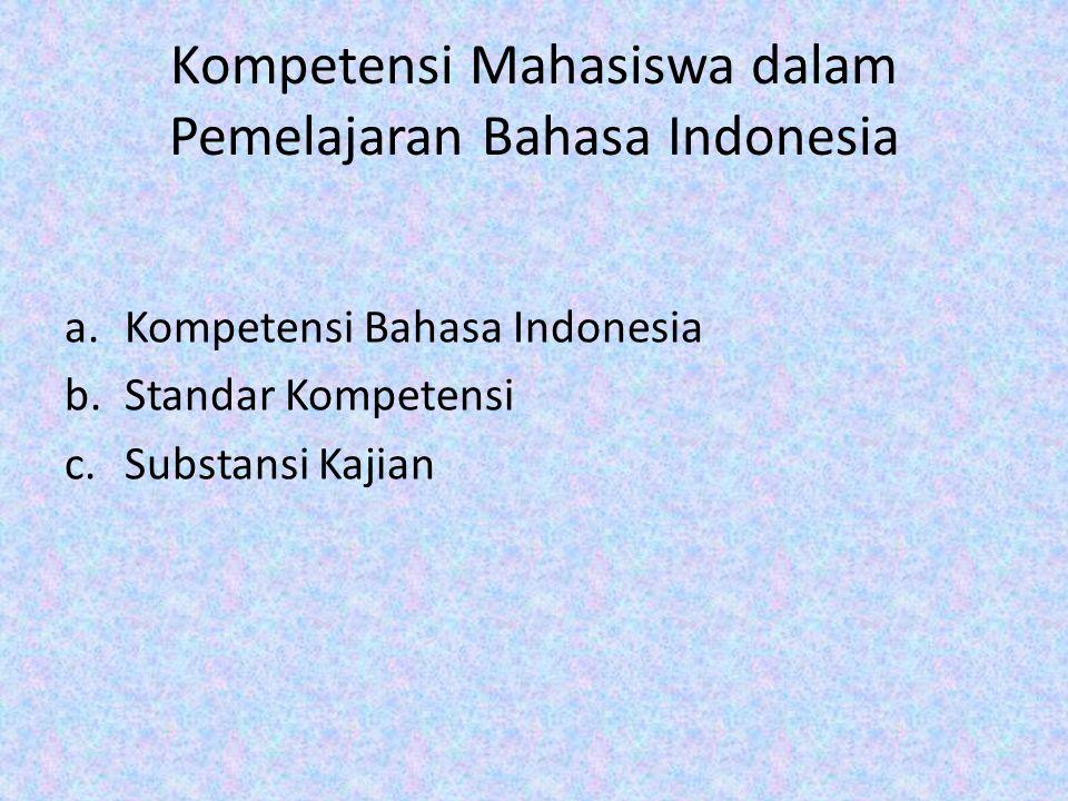 Kompetensi Mahasiswa dalam Pemelajaran Bahasa Indonesia a.Kompetensi Bahasa Indonesia b.Standar Kompetensi c.Substansi Kajian