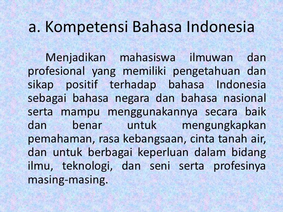 a. Kompetensi Bahasa Indonesia Menjadikan mahasiswa ilmuwan dan profesional yang memiliki pengetahuan dan sikap positif terhadap bahasa Indonesia seba