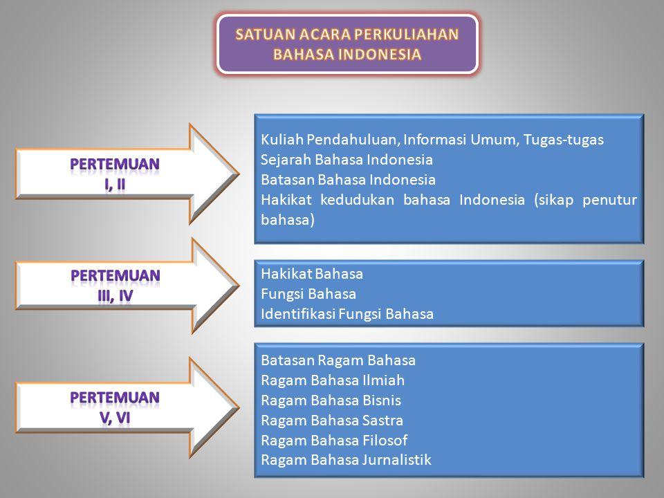 Visi dan Misi Mata Kuliah Bahasa Indonesia  Visi Menjadikan bahasa Indonesia sebagai salah satu instrumen pengembangan kepribadian mahasiswa menuju terbentuknya insan terpelajar yang mahir berkomunikasi dalam bahasa Indonesia.