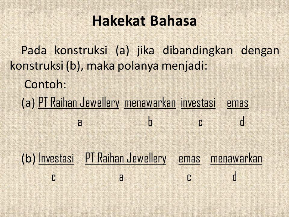 Hakekat Bahasa Pada konstruksi (a) jika dibandingkan dengan konstruksi (b), maka polanya menjadi: Contoh: (a) PT Raihan Jewellery menawarkan investasi