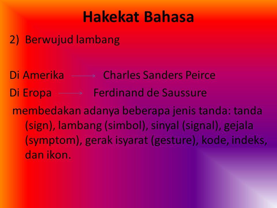 Hakekat Bahasa 2)Berwujud lambang Di Amerika Charles Sanders Peirce Di Eropa Ferdinand de Saussure membedakan adanya beberapa jenis tanda: tanda (sign