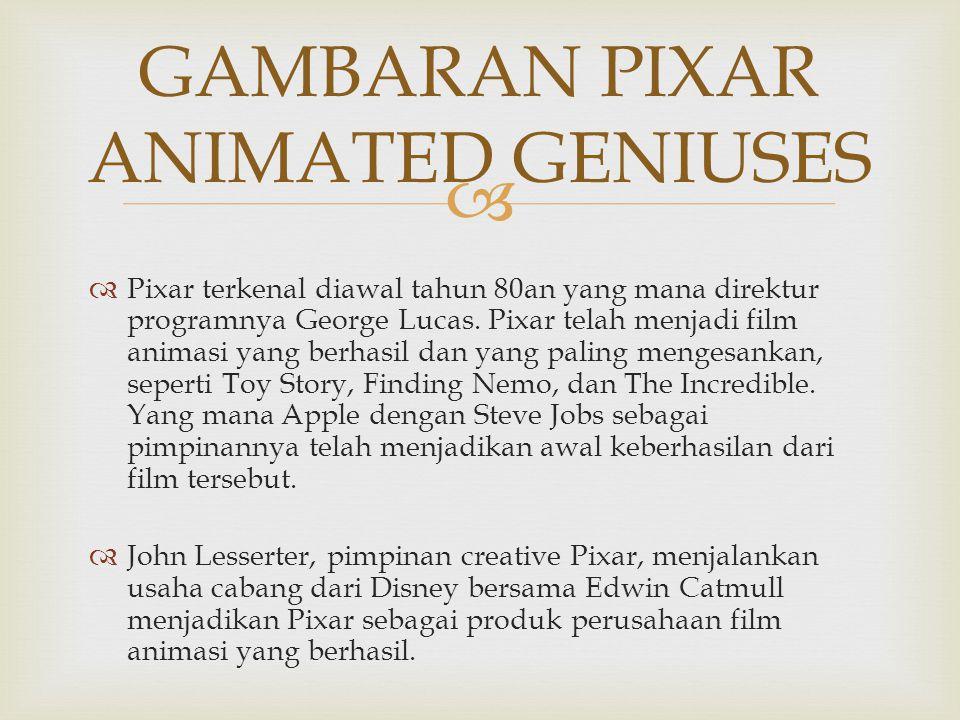   Pixar terkenal diawal tahun 80an yang mana direktur programnya George Lucas. Pixar telah menjadi film animasi yang berhasil dan yang paling menges