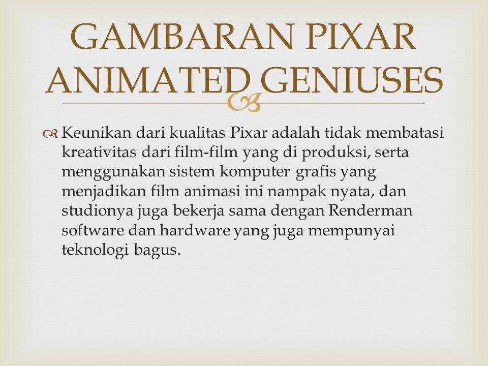   Keunikan dari kualitas Pixar adalah tidak membatasi kreativitas dari film-film yang di produksi, serta menggunakan sistem komputer grafis yang menjadikan film animasi ini nampak nyata, dan studionya juga bekerja sama dengan Renderman software dan hardware yang juga mempunyai teknologi bagus.