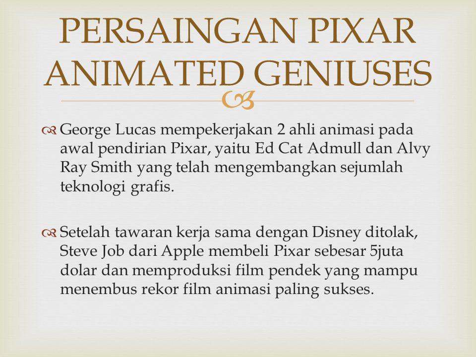   George Lucas mempekerjakan 2 ahli animasi pada awal pendirian Pixar, yaitu Ed Cat Admull dan Alvy Ray Smith yang telah mengembangkan sejumlah tekn