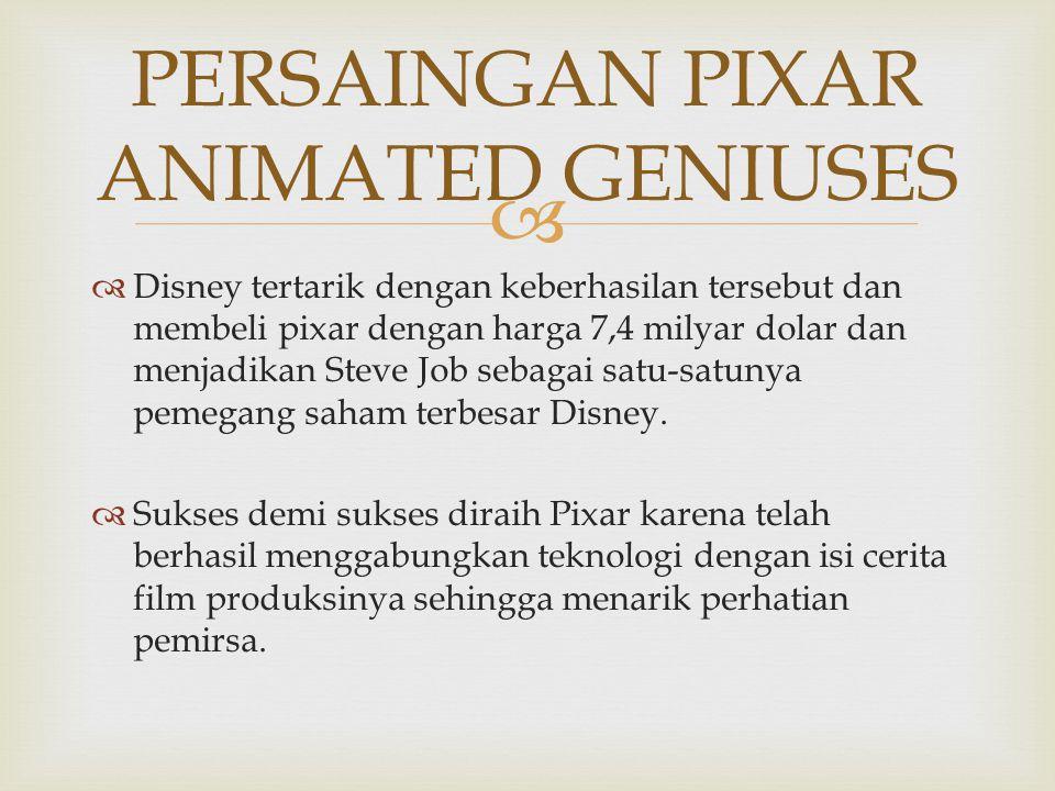   Disney tertarik dengan keberhasilan tersebut dan membeli pixar dengan harga 7,4 milyar dolar dan menjadikan Steve Job sebagai satu-satunya pemegan