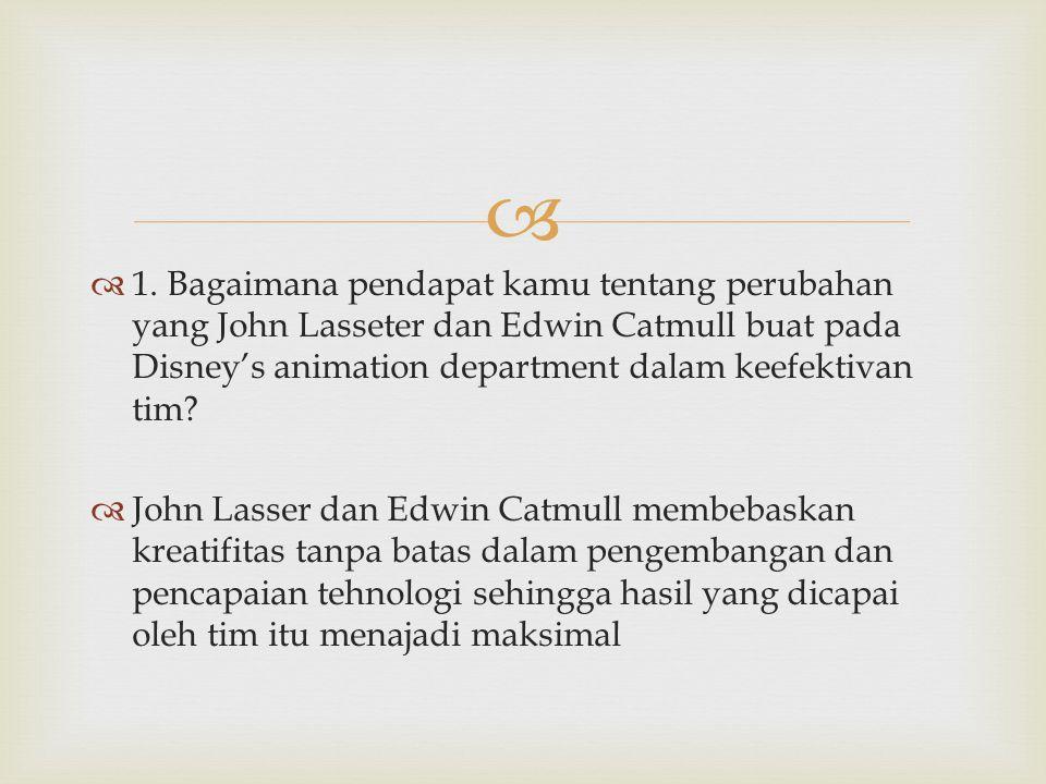   1. Bagaimana pendapat kamu tentang perubahan yang John Lasseter dan Edwin Catmull buat pada Disney's animation department dalam keefektivan tim? 
