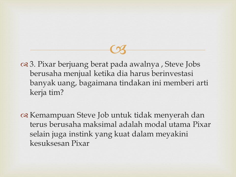   3. Pixar berjuang berat pada awalnya, Steve Jobs berusaha menjual ketika dia harus berinvestasi banyak uang, bagaimana tindakan ini memberi arti k