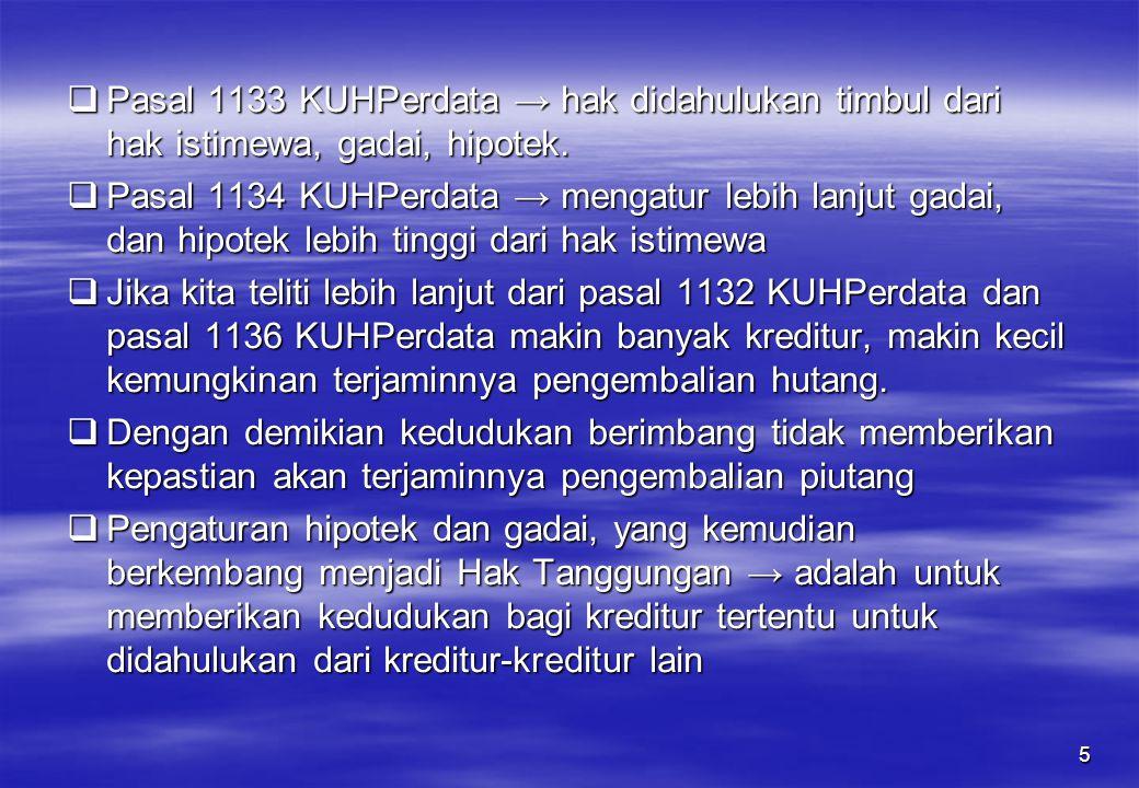 5  Pasal 1133 KUHPerdata → hak didahulukan timbul dari hak istimewa, gadai, hipotek.  Pasal 1134 KUHPerdata → mengatur lebih lanjut gadai, dan hipot