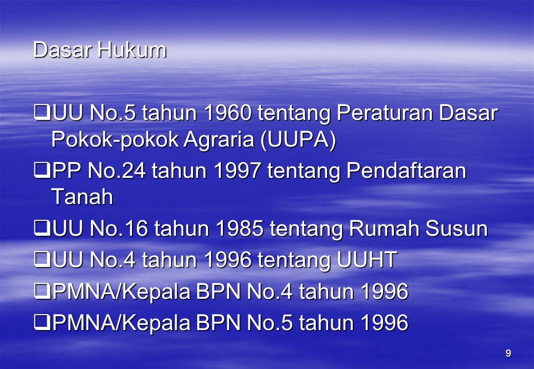 9 Dasar Hukum  UU No.5 tahun 1960 tentang Peraturan Dasar Pokok-pokok Agraria (UUPA)  PP No.24 tahun 1997 tentang Pendaftaran Tanah  UU No.16 tahun