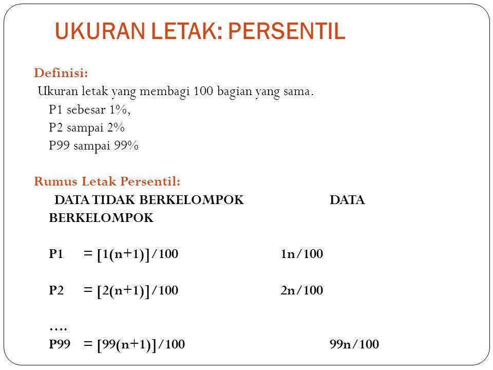 UKURAN LETAK: PERSENTIL Definisi: Ukuran letak yang membagi 100 bagian yang sama. P1 sebesar 1%, P2 sampai 2% P99 sampai 99% Rumus Letak Persentil: DA