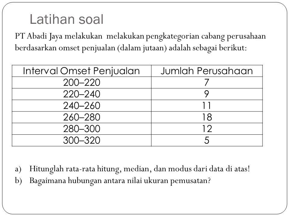 Latihan soal PT Abadi Jaya melakukan melakukan pengkategorian cabang perusahaan berdasarkan omset penjualan (dalam jutaan) adalah sebagai berikut: a)H