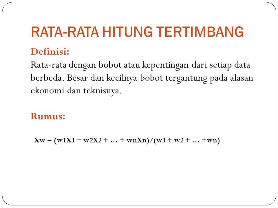 RATA-RATA HITUNG TERTIMBANG Definisi: Rata-rata dengan bobot atau kepentingan dari setiap data berbeda. Besar dan kecilnya bobot tergantung pada alasa
