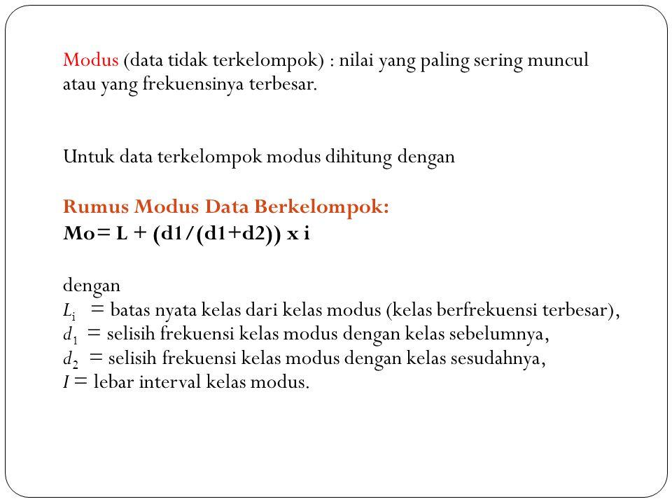 Modus (data tidak terkelompok) : nilai yang paling sering muncul atau yang frekuensinya terbesar. Untuk data terkelompok modus dihitung dengan Rumus M