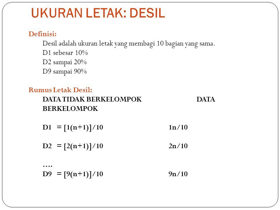 UKURAN LETAK: DESIL Definisi: Desil adalah ukuran letak yang membagi 10 bagian yang sama. D1 sebesar 10% D2 sampai 20% D9 sampai 90% Rumus Letak Desil