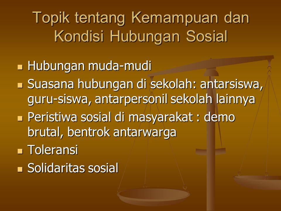Topik tentang Kemampuan dan Kondisi Hubungan Sosial Hubungan muda-mudi Hubungan muda-mudi Suasana hubungan di sekolah: antarsiswa, guru-siswa, antarpe