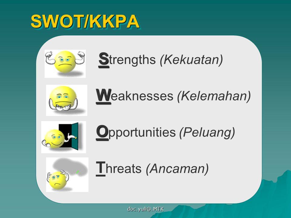 doc.yuli@.MTK SWOT/KKPASWOT/KKPA S S trengths (Kekuatan) O O pportunities (Peluang) W W eaknesses (Kelemahan) T hreats (Ancaman)