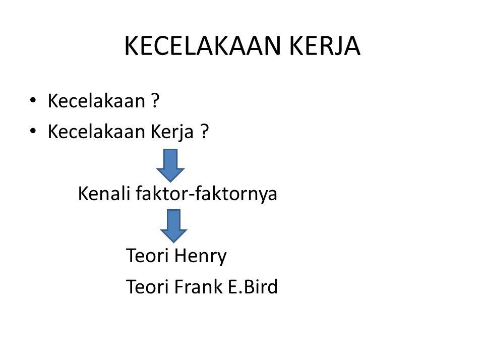 Kecelakaan ? Kecelakaan Kerja ? Kenali faktor-faktornya Teori Henry Teori Frank E.Bird