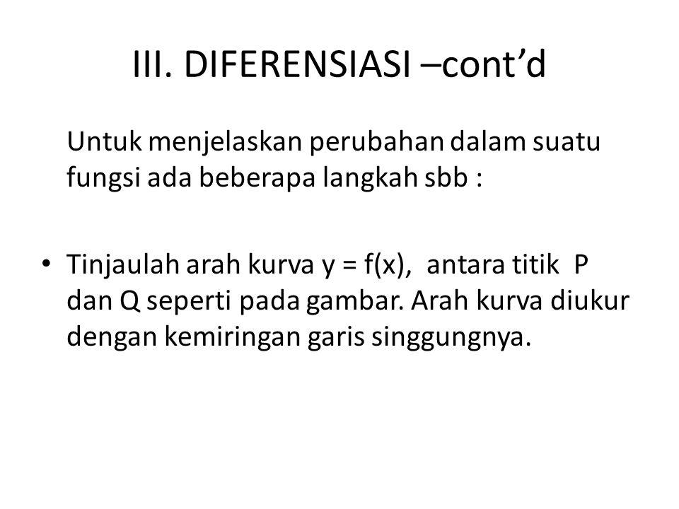 III. DIFERENSIASI –cont'd Untuk menjelaskan perubahan dalam suatu fungsi ada beberapa langkah sbb : Tinjaulah arah kurva y = f(x), antara titik P dan
