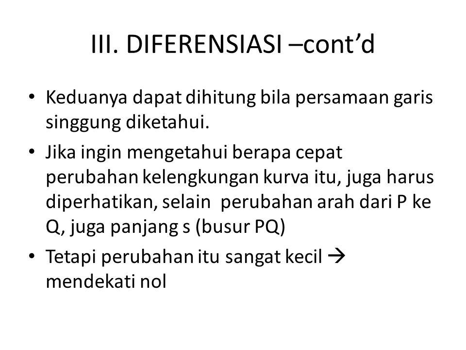 III.DIFERENSIASI –cont'd Keduanya dapat dihitung bila persamaan garis singgung diketahui.