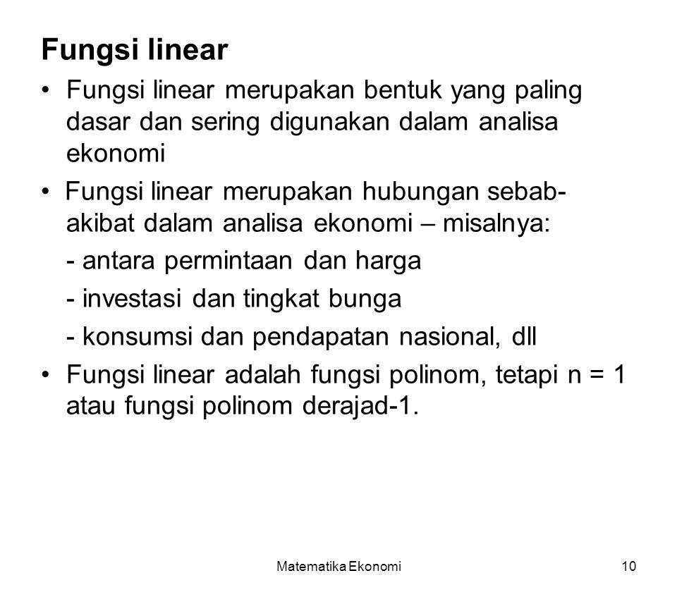 Matematika Ekonomi10 Fungsi linear Fungsi linear merupakan bentuk yang paling dasar dan sering digunakan dalam analisa ekonomi Fungsi linear merupakan